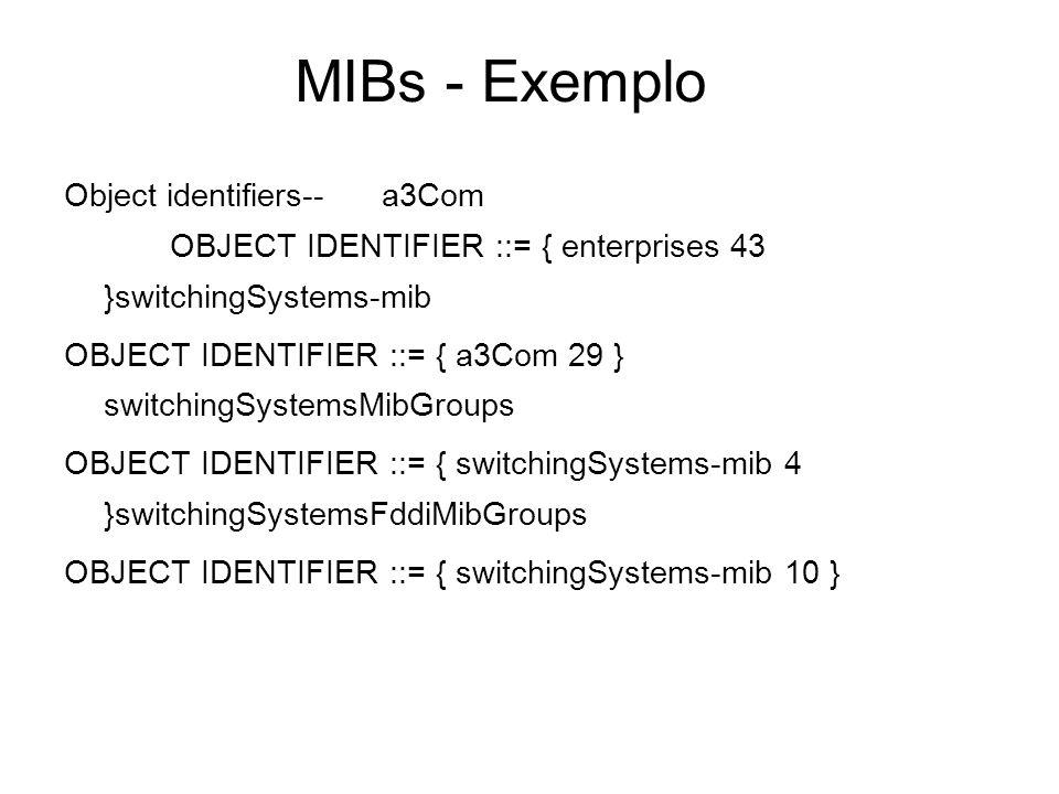 MIBs - Exemplo Object identifiers--a3Com OBJECT IDENTIFIER ::= { enterprises 43 }switchingSystems-mib OBJECT IDENTIFIER ::= { a3Com 29 } switchingSyst