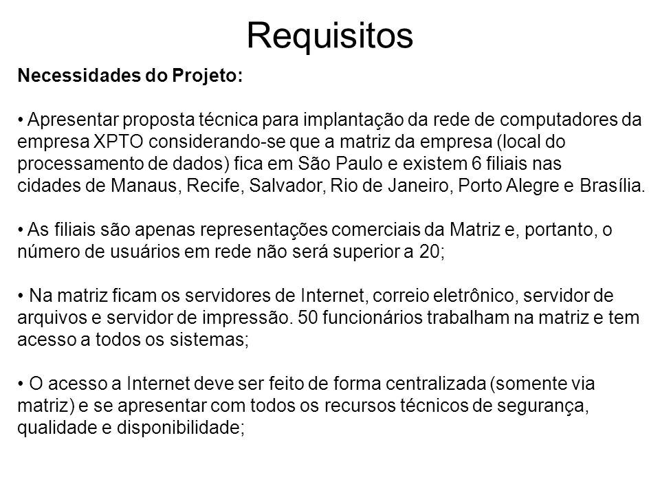 Requisitos Necessidades do Projeto: Apresentar proposta técnica para implantação da rede de computadores da empresa XPTO considerando-se que a matriz