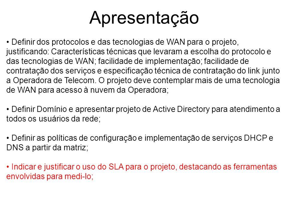 Apresentação Definir dos protocolos e das tecnologias de WAN para o projeto, justificando: Características técnicas que levaram a escolha do protocolo