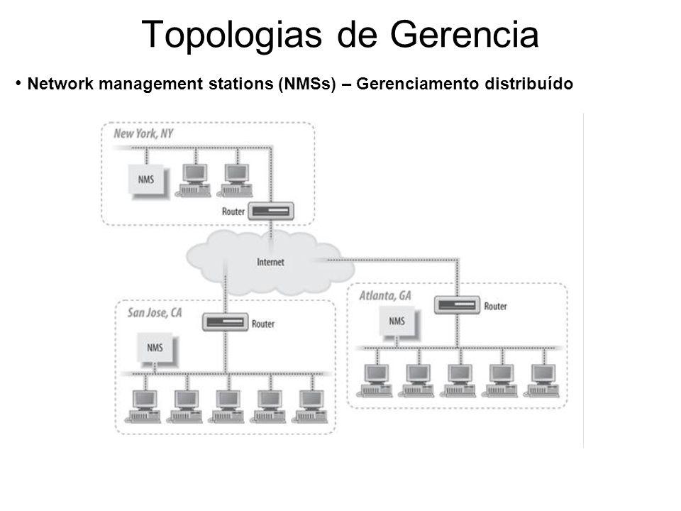Topologias de Gerencia Network management stations (NMSs) – Gerenciamento distribuído
