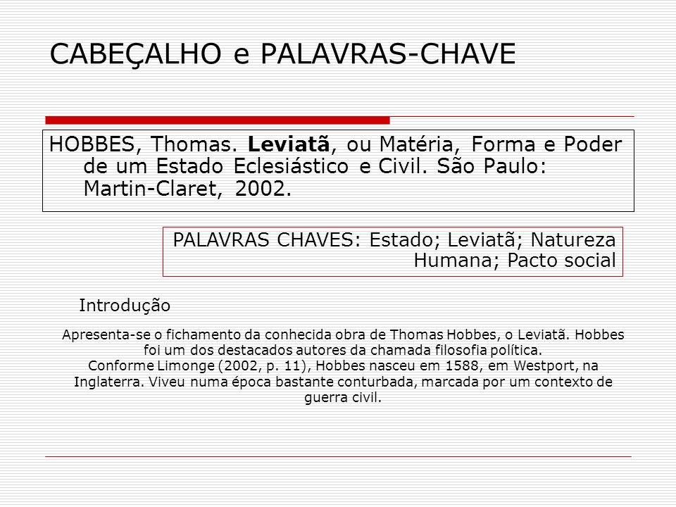 CABEÇALHO e PALAVRAS-CHAVE HOBBES, Thomas.