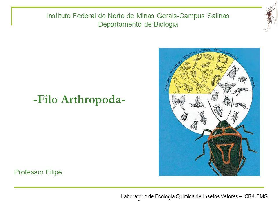 Laboratório de Ecologia Química de Insetos Vetores – ICB/UFMG 2 1- Características gerais Arthropoda: do grego, Arthron = articulação + podos = pé; 900.000 espécies descritas.
