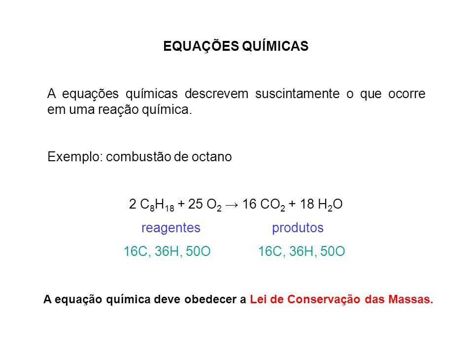 EQUAÇÕES QUÍMICAS A equações químicas descrevem suscintamente o que ocorre em uma reação química. Exemplo: combustão de octano 2 C 8 H 18 + 25 O 2 16