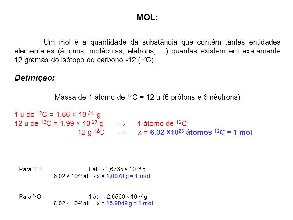 MOL: Um mol é a quantidade da substância que contém tantas entidades elementares (átomos, moléculas, elétrons,...) quantas existem em exatamente 12 gr