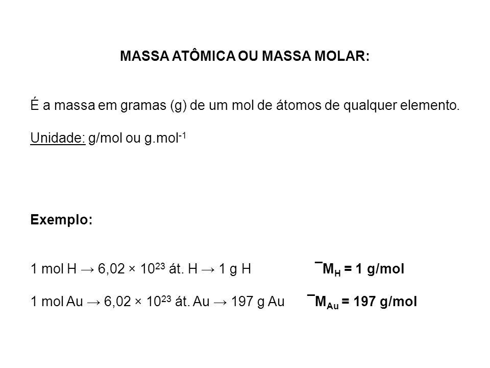 MASSA ATÔMICA OU MASSA MOLAR: É a massa em gramas (g) de um mol de átomos de qualquer elemento. Unidade: g/mol ou g.mol -1 Exemplo: 1 mol H 6,02 × 10