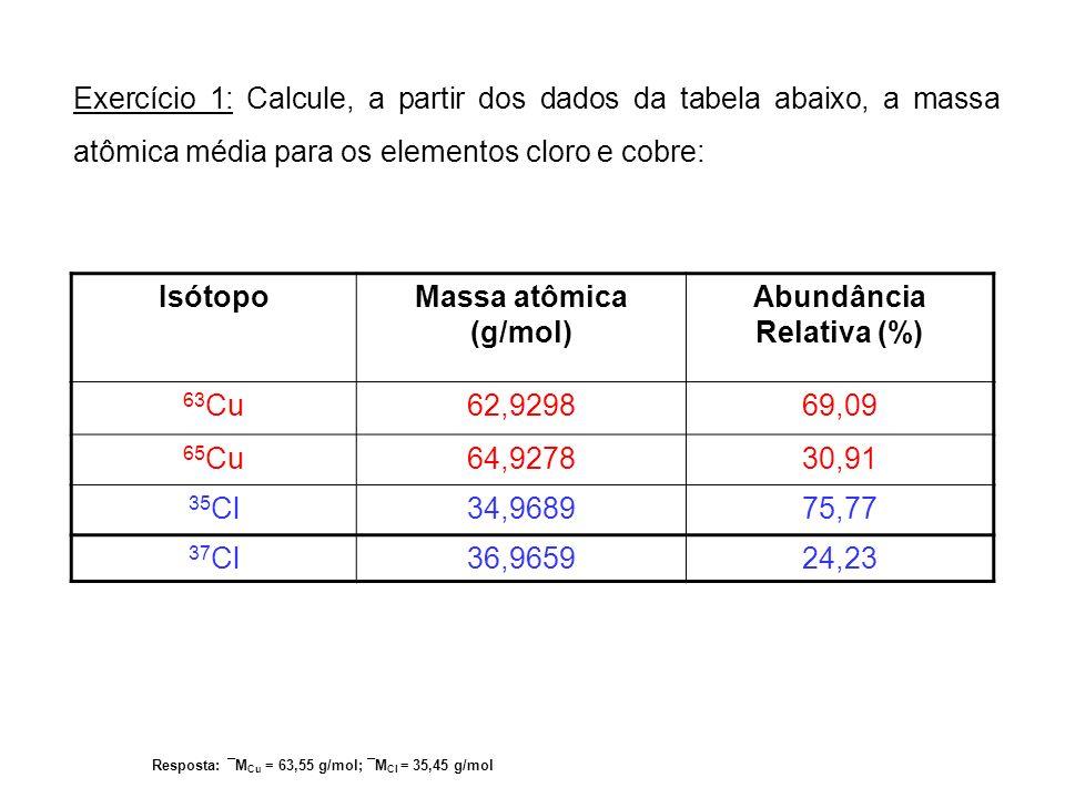 Exercício 1: Calcule, a partir dos dados da tabela abaixo, a massa atômica média para os elementos cloro e cobre: IsótopoMassa atômica (g/mol) Abundân