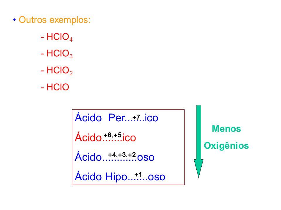 Outros exemplos: - HClO 4 - HClO 3 - HClO 2 - HClO Ácido Per.......ico Ácido.......ico Ácido............oso Ácido Hipo.......oso Menos Oxigênios +7 +6