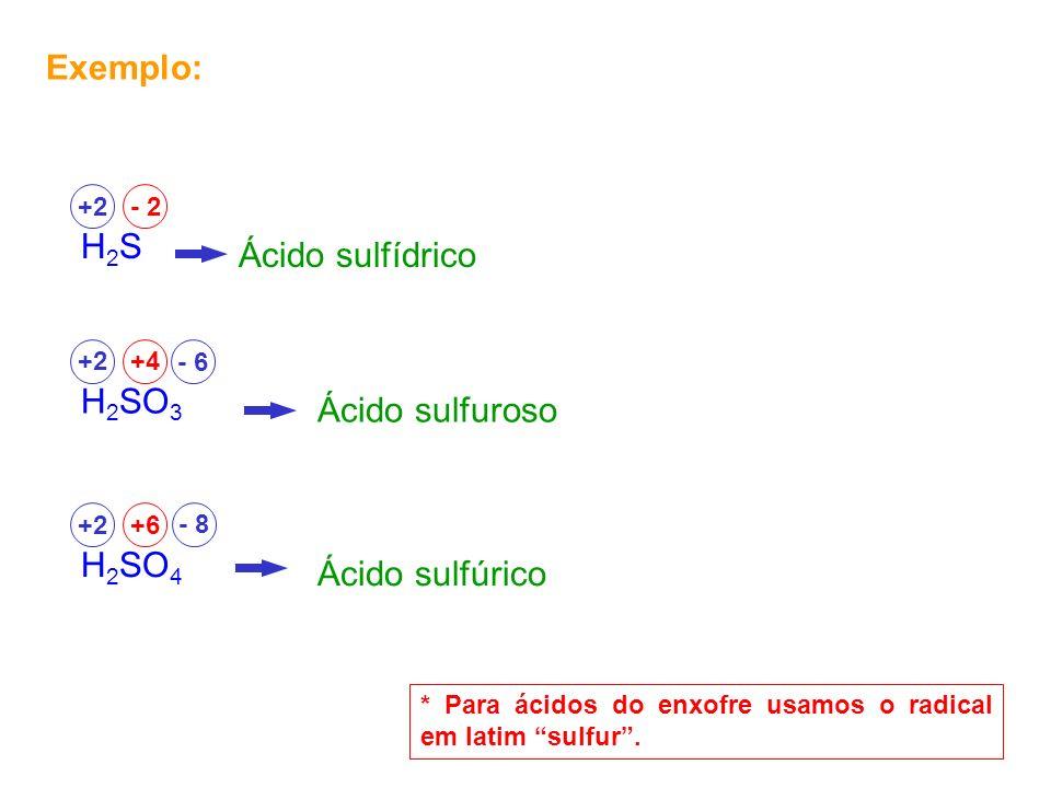 Exemplo: H2SH2S +2- 2 Ácido sulfídrico H 2 SO 3 +2+4 Ácido sulfuroso H 2 SO 4 +2+6 Ácido sulfúrico - 8 * Para ácidos do enxofre usamos o radical em la