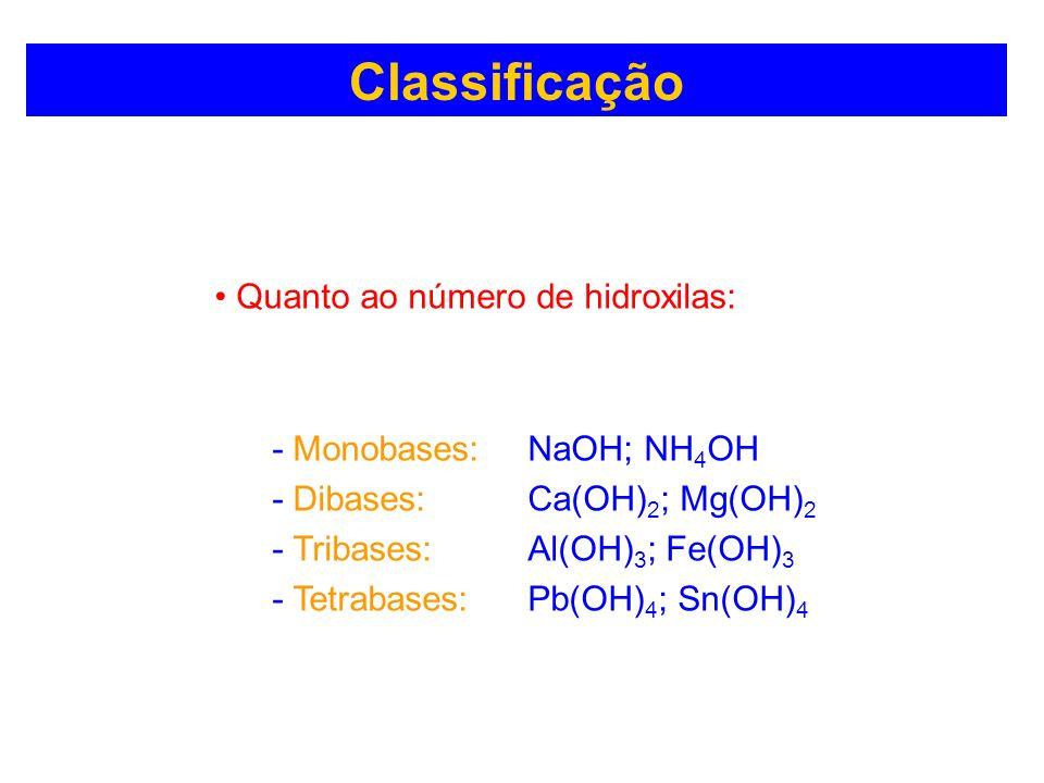 Classificação Quanto ao número de hidroxilas: - Monobases: NaOH; NH 4 OH - Dibases: Ca(OH) 2 ; Mg(OH) 2 - Tribases: Al(OH) 3 ; Fe(OH) 3 - Tetrabases: