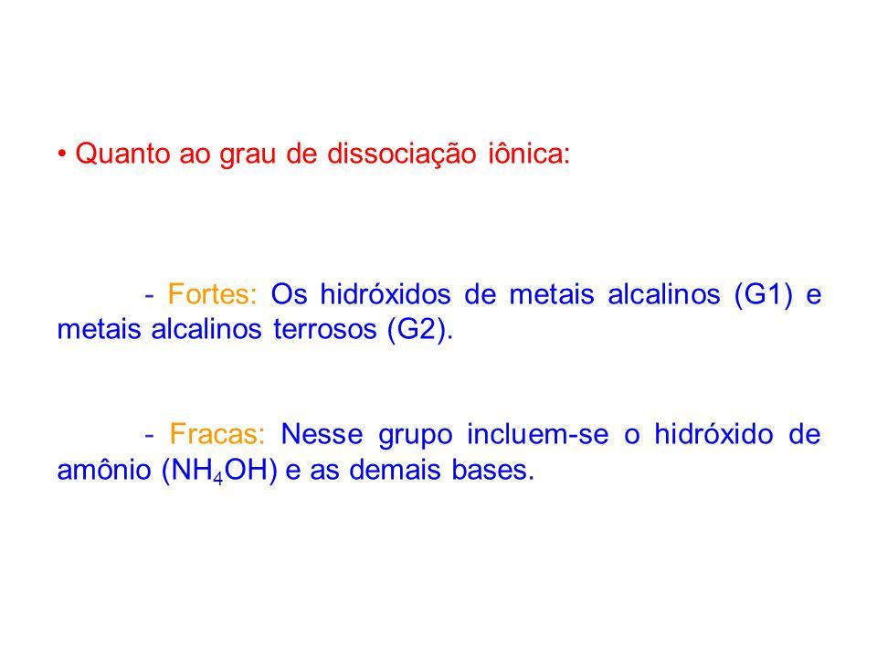 Quanto ao grau de dissociação iônica: - Fortes: Os hidróxidos de metais alcalinos (G1) e metais alcalinos terrosos (G2). - Fracas: Nesse grupo incluem