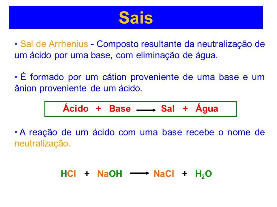 Sais Sal de Arrhenius - Composto resultante da neutralização de um ácido por uma base, com eliminação de água. É formado por um cátion proveniente de