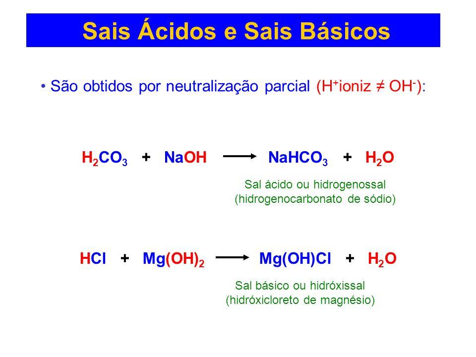 Sais Ácidos e Sais Básicos São obtidos por neutralização parcial (H + ioniz OH - ): H 2 CO 3 + NaOH NaHCO 3 + H 2 O HCl + Mg(OH) 2 Mg(OH)Cl + H 2 O Sa