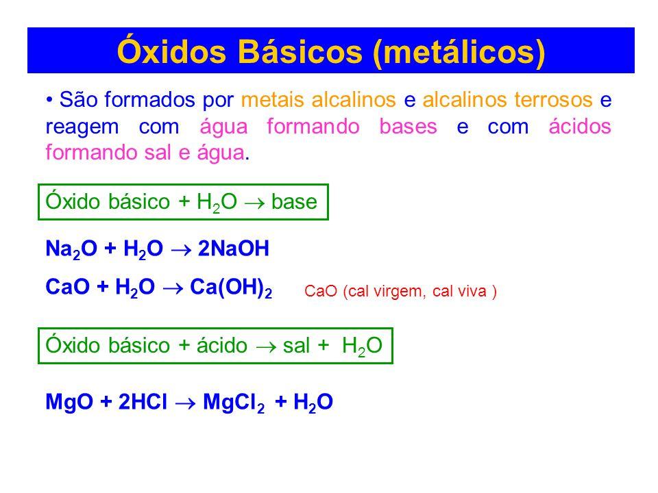 Óxidos Básicos (metálicos) São formados por metais alcalinos e alcalinos terrosos e reagem com água formando bases e com ácidos formando sal e água. N