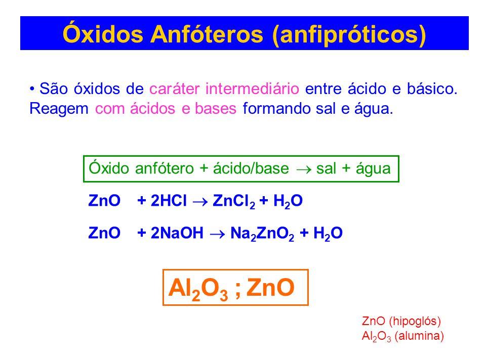 Óxidos Anfóteros (anfipróticos) São óxidos de caráter intermediário entre ácido e básico. Reagem com ácidos e bases formando sal e água. Al 2 O 3 ; Zn