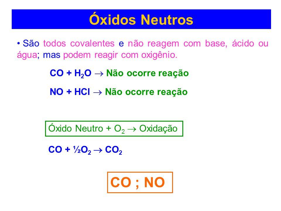 Óxidos Neutros (indiferentes) São todos covalentes e não reagem com base, ácido ou água; mas podem reagir com oxigênio. CO ; NO CO + H 2 O Não ocorre