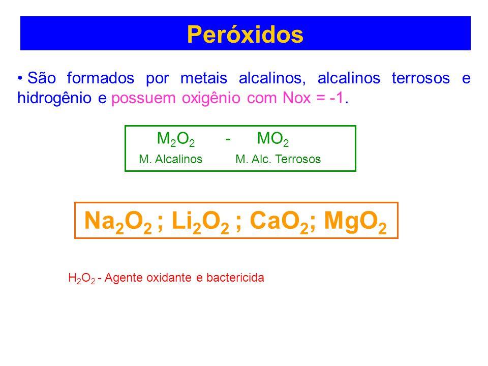 Peróxidos São formados por metais alcalinos, alcalinos terrosos e hidrogênio e possuem oxigênio com Nox = -1. M 2 O 2 - MO 2 M. Alcalinos M. Alc. Terr