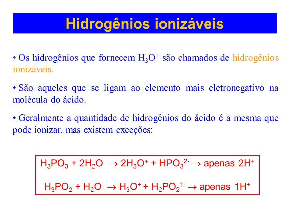 Hidrogênios ionizáveis Os hidrogênios que fornecem H 3 O + são chamados de hidrogênios ionizáveis. São aqueles que se ligam ao elemento mais eletroneg