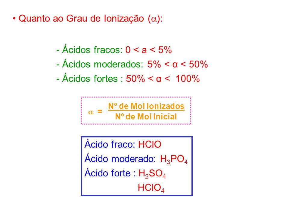 Quanto ao Grau de Ionização ( ): - Ácidos fracos: 0 < a < 5% - Ácidos moderados: 5% < α < 50% - Ácidos fortes : 50% < α < 100% Nº de Mol Ionizados = N