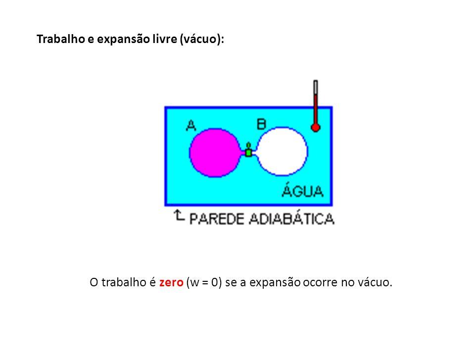 Trabalho e expansão livre (vácuo): O trabalho é zero (w = 0) se a expansão ocorre no vácuo.