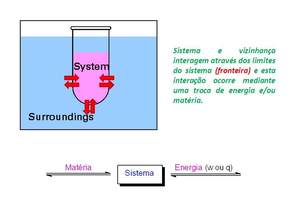 Sistema e vizinhança interagem através dos limites do sistema (fronteira) e esta interação ocorre mediante uma troca de energia e/ou matéria.