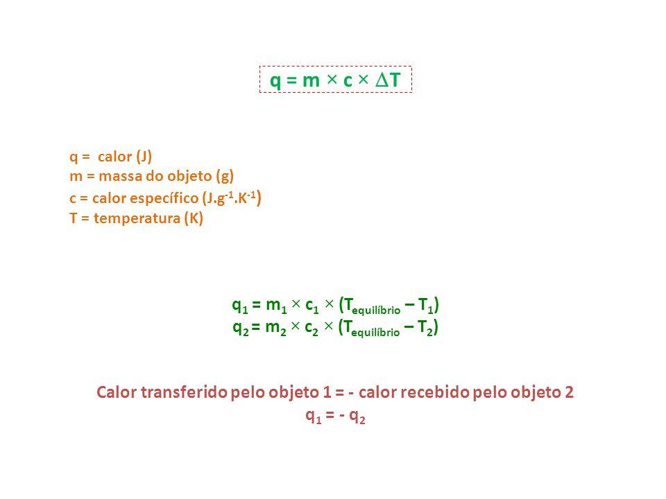 q = m × c × T q = calor (J) m = massa do objeto (g) c = calor específico (J.g -1.K -1 ) T = temperatura (K) q 1 = m 1 × c 1 × (T equilíbrio – T 1 ) q