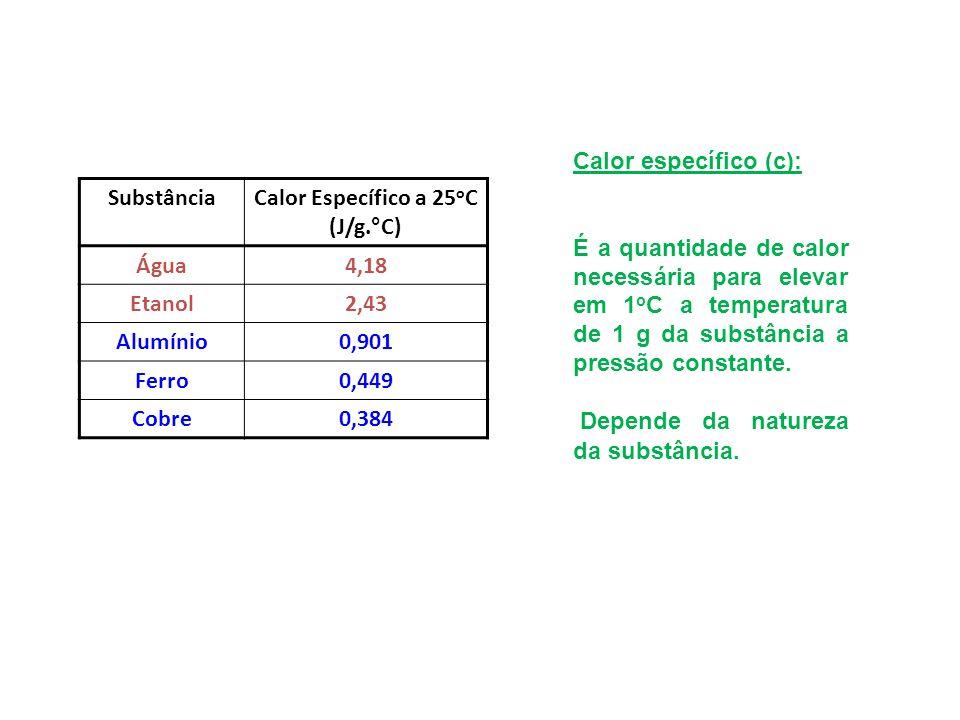 Calor específico (c): É a quantidade de calor necessária para elevar em 1 o C a temperatura de 1 g da substância a pressão constante. Depende da natur