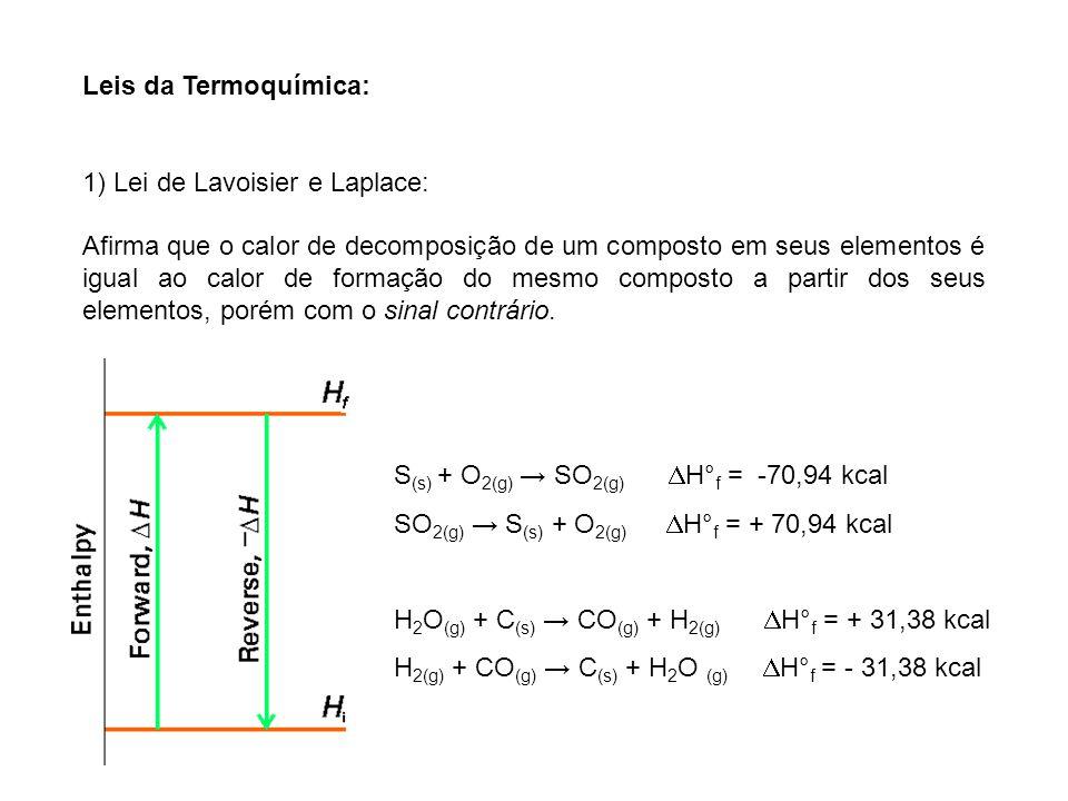 Leis da Termoquímica: 1) Lei de Lavoisier e Laplace: Afirma que o calor de decomposição de um composto em seus elementos é igual ao calor de formação
