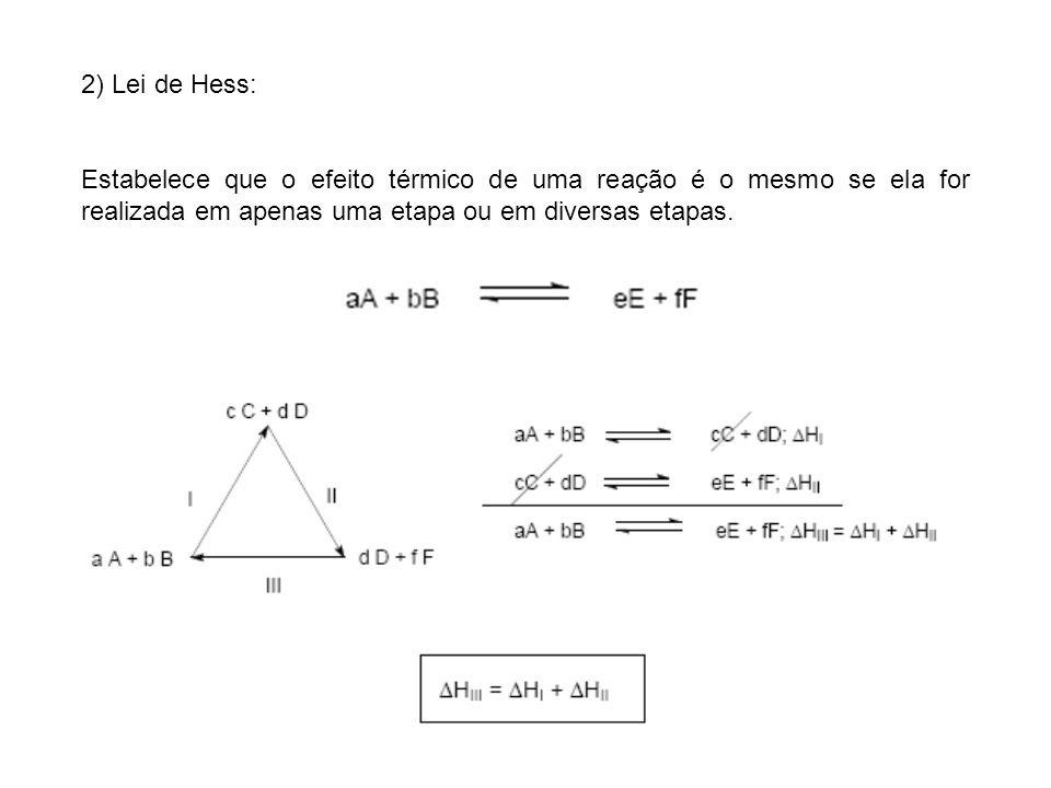 2) Lei de Hess: Estabelece que o efeito térmico de uma reação é o mesmo se ela for realizada em apenas uma etapa ou em diversas etapas.