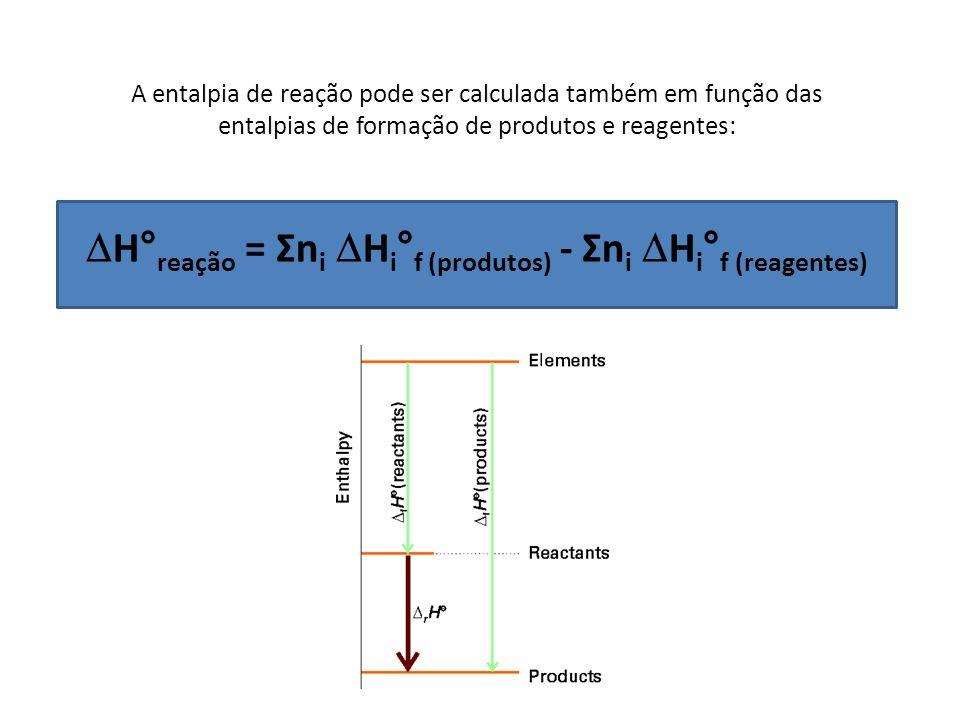 A entalpia de reação pode ser calculada também em função das entalpias de formação de produtos e reagentes: H° reação = Σn i H i ° f (produtos) - Σn i