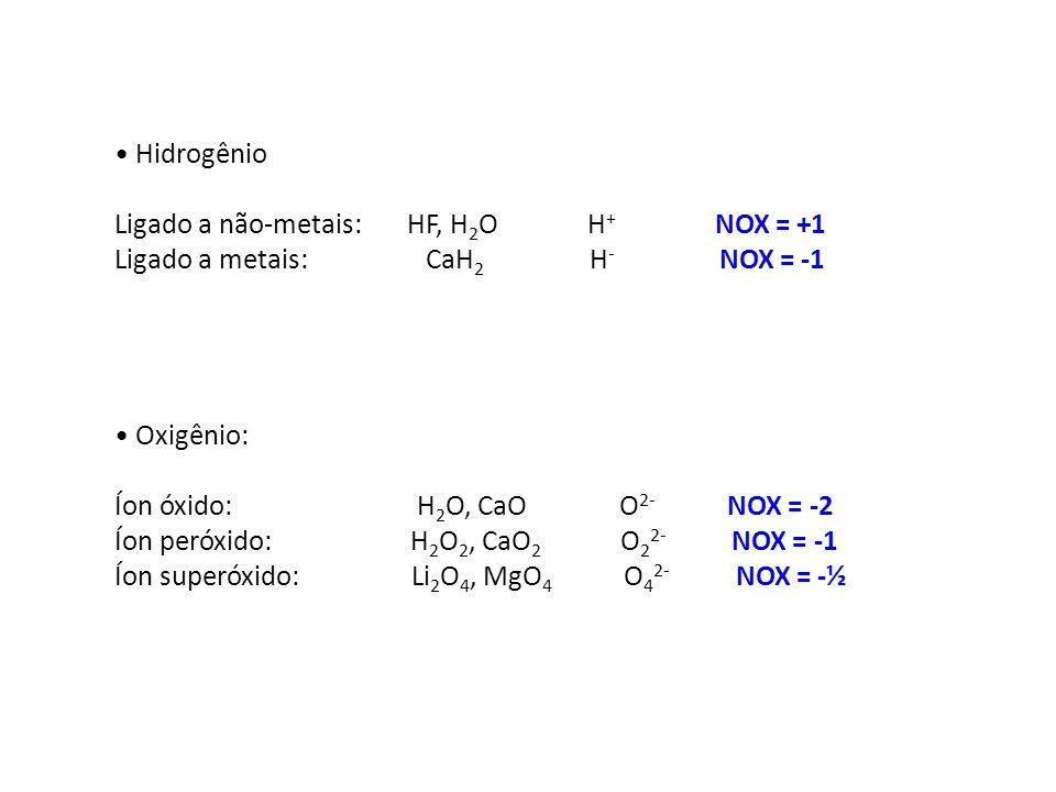 Hidrogênio Ligado a não-metais: HF, H 2 O H + NOX = +1 Ligado a metais: CaH 2 H - NOX = -1 Oxigênio: Íon óxido: H 2 O, CaO O 2- NOX = -2 Íon peróxido: