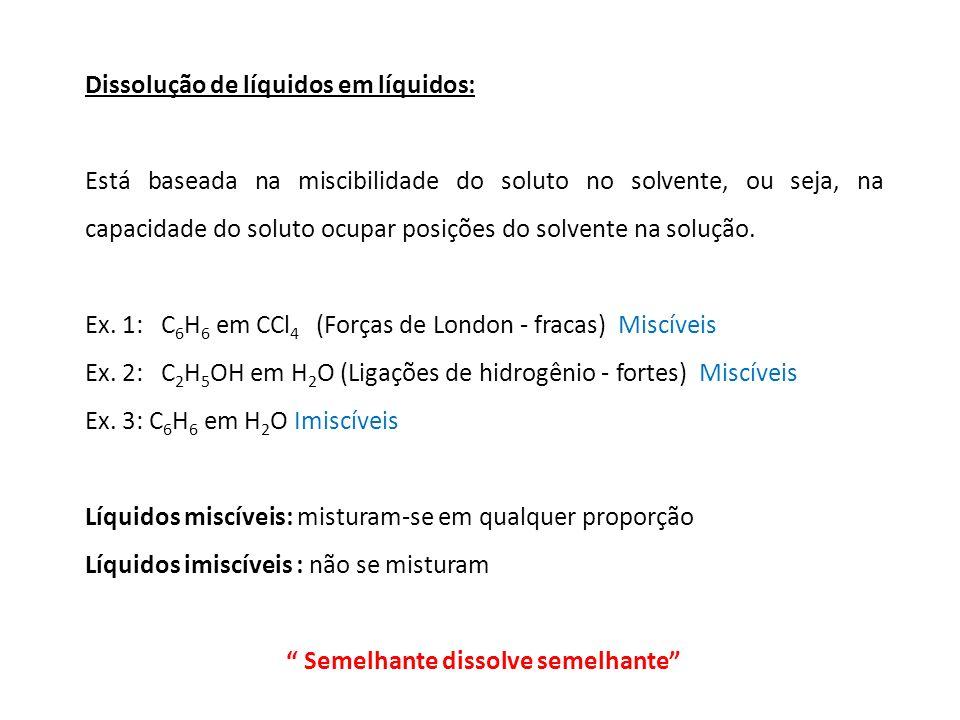 Dissolução de líquidos em líquidos: Está baseada na miscibilidade do soluto no solvente, ou seja, na capacidade do soluto ocupar posições do solvente