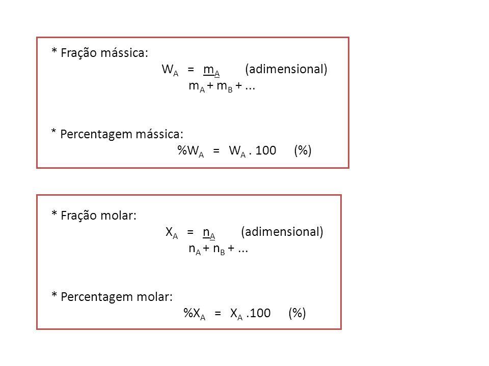 * Fração mássica: W A = m A (adimensional) m A + m B +... * Percentagem mássica: %W A = W A. 100 (%) * Fração molar: X A = n A (adimensional) n A + n