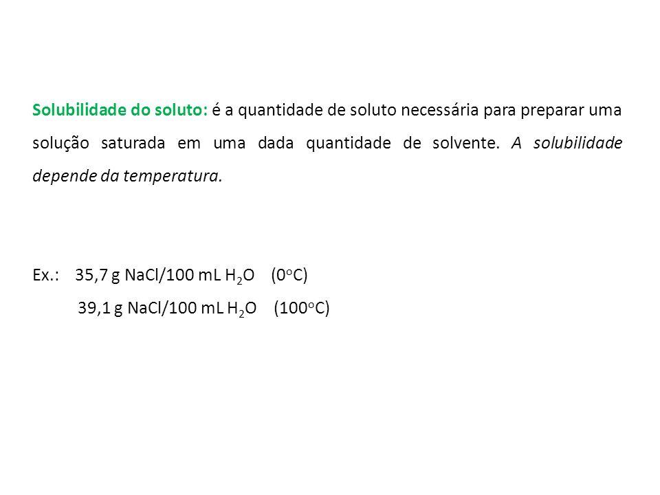 Solubilidade do soluto: é a quantidade de soluto necessária para preparar uma solução saturada em uma dada quantidade de solvente.