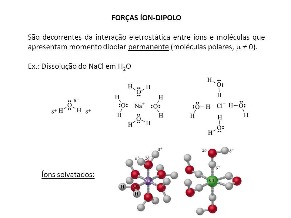FORÇAS ÍON-DIPOLO São decorrentes da interação eletrostática entre íons e moléculas que apresentam momento dipolar permanente (moléculas polares, 0).