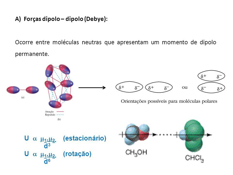 A)Forças dipolo – dipolo (Debye): Ocorre entre moléculas neutras que apresentam um momento de dipolo permanente. U 1. 2 (estacionário) d 3 U 1. 2 (rot