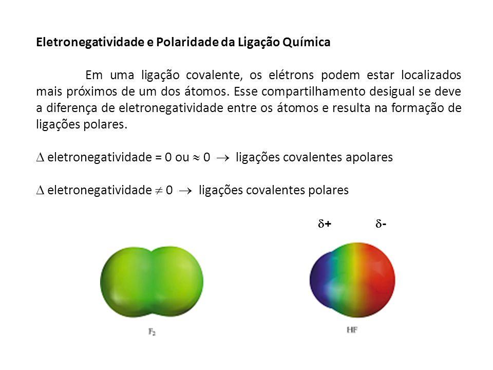 MOMENTOS DE DIPOLO ( ): é a grandeza que representa a diferença de densidade eletrônica (dipolo) Q = grandeza das cargas r = distância entre os átomos Os momentos de dipolo são medidos em debyes (D).