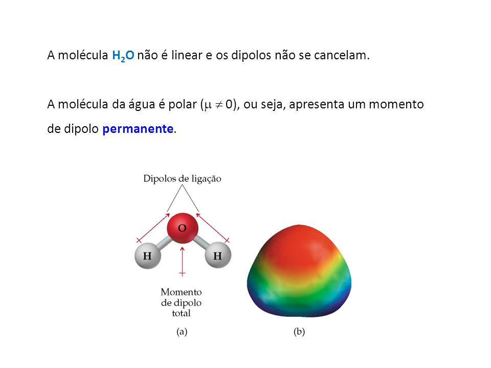 A molécula H 2 O não é linear e os dipolos não se cancelam. A molécula da água é polar ( 0), ou seja, apresenta um momento de dipolo permanente.