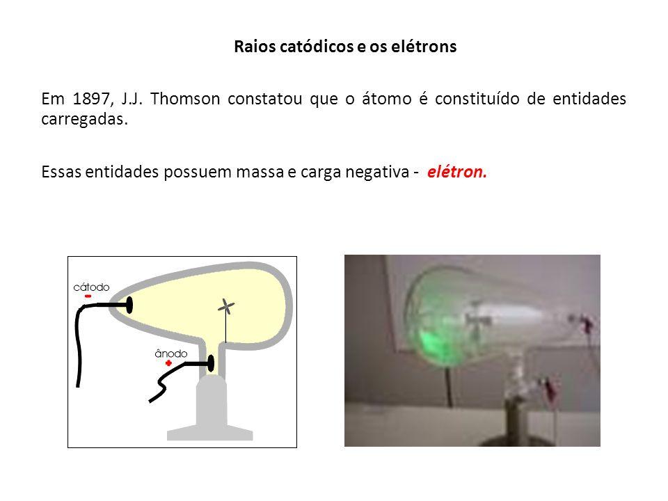 Raios catódicos e os elétrons Essas entidades possuem massa e carga negativa - elétron. Em 1897, J.J. Thomson constatou que o átomo é constituído de e