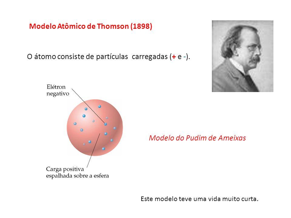 O átomo consiste de partículas carregadas (+ e -). Este modelo teve uma vida muito curta. Modelo do Pudim de Ameixas Modelo Atômico de Thomson (1898)