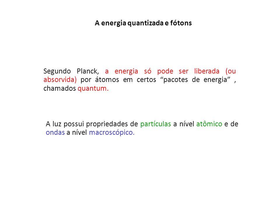A energia quantizada e fótons Segundo Planck, a energia só pode ser liberada (ou absorvida) por átomos em certos pacotes de energia, chamados quantum.