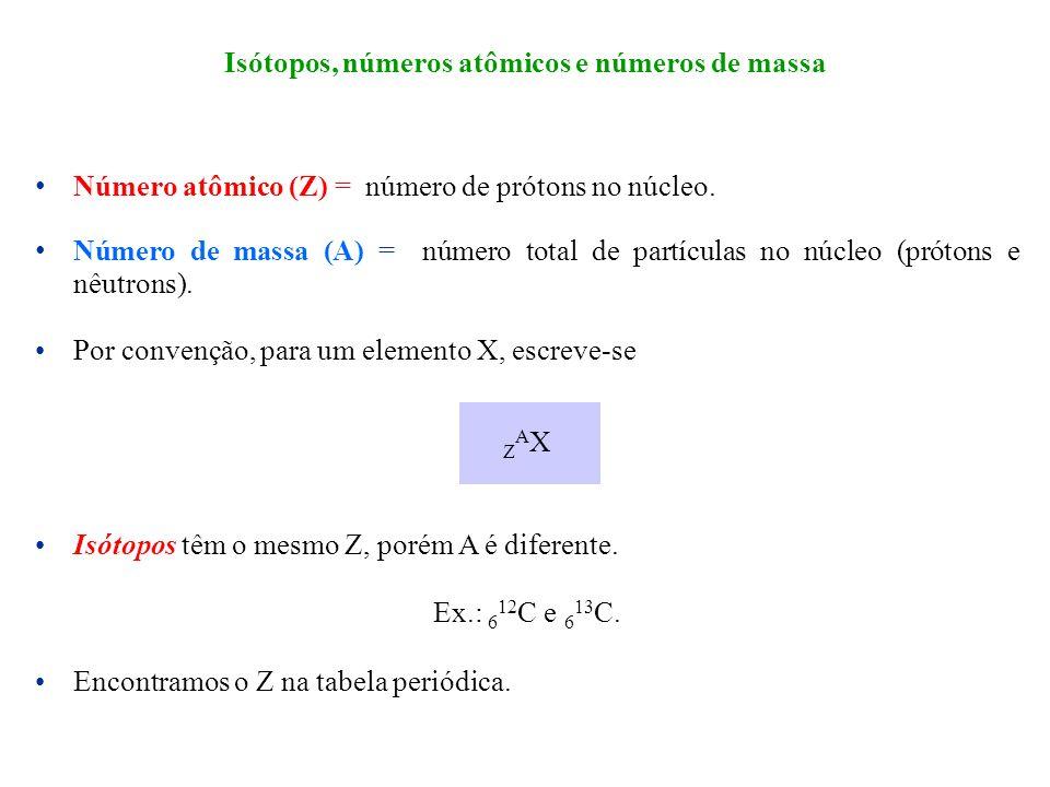 Número atômico (Z) = número de prótons no núcleo. Número de massa (A) = número total de partículas no núcleo (prótons e nêutrons). Por convenção, para