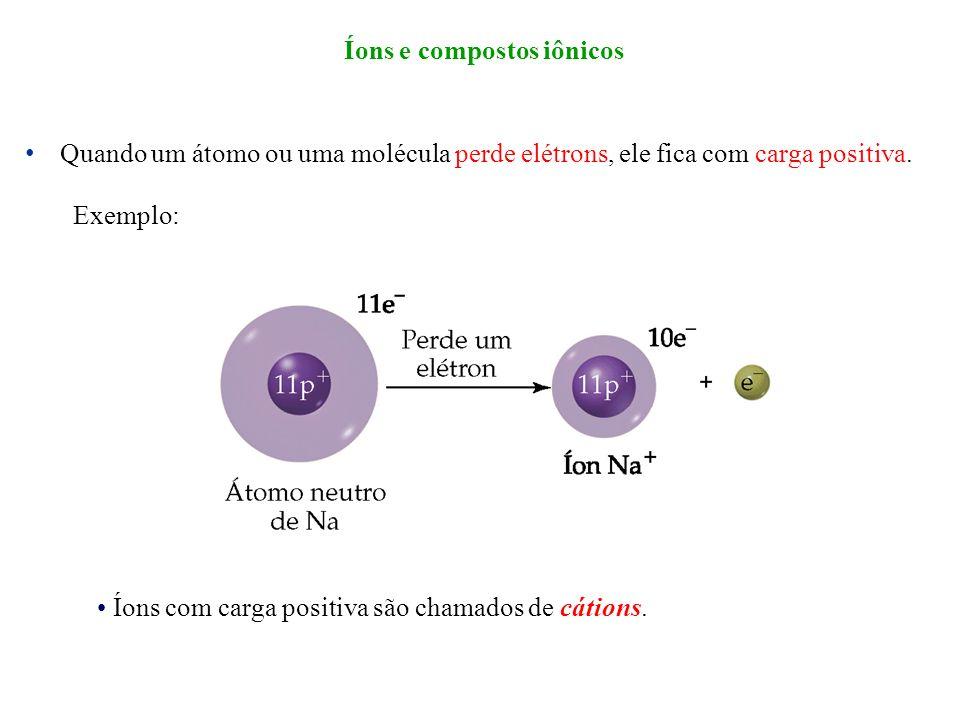 Quando um átomo ou uma molécula perde elétrons, ele fica com carga positiva. Exemplo: Íons com carga positiva são chamados de cátions. Íons e composto