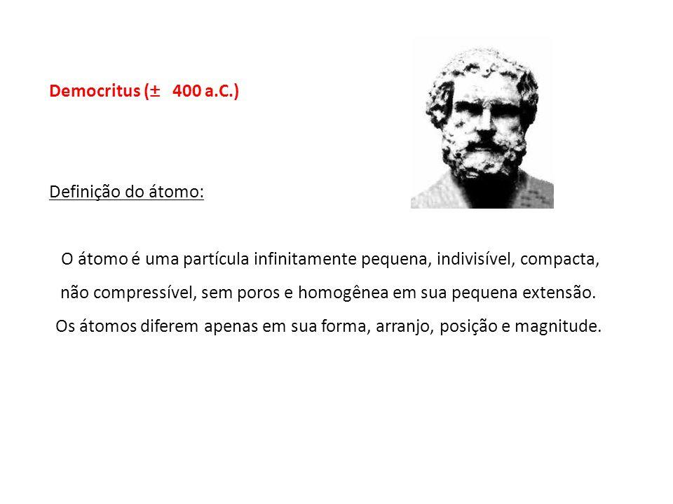 Democritus (± 400 a.C.) Definição do átomo: O átomo é uma partícula infinitamente pequena, indivisível, compacta, não compressível, sem poros e homogê