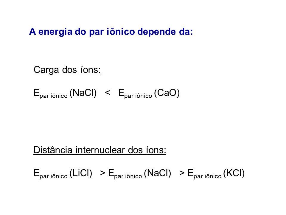 Carga dos íons: E par iônico (NaCl) < E par iônico (CaO) Distância internuclear dos íons: E par iônico (LiCl) > E par iônico (NaCl) > E par iônico (KC