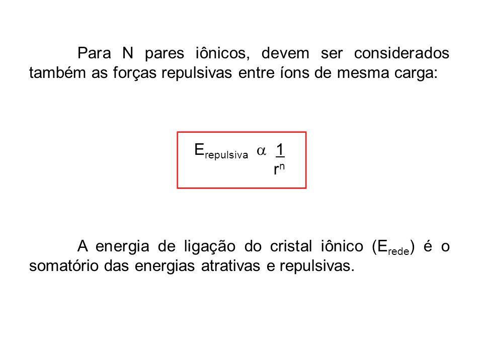 Para N pares iônicos, devem ser considerados também as forças repulsivas entre íons de mesma carga: E repulsiva 1 r n A energia de ligação do cristal