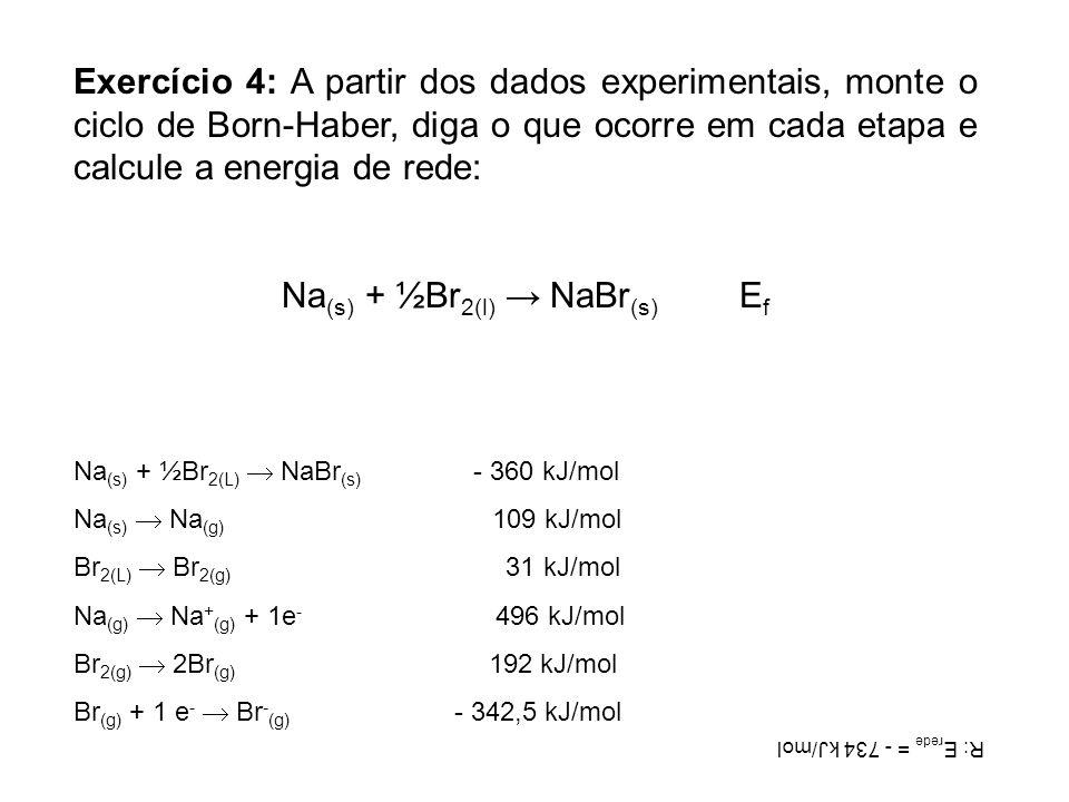 Exercício 4: A partir dos dados experimentais, monte o ciclo de Born-Haber, diga o que ocorre em cada etapa e calcule a energia de rede: Na (s) + ½Br