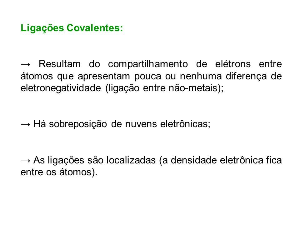 Ligações Covalentes: Resultam do compartilhamento de elétrons entre átomos que apresentam pouca ou nenhuma diferença de eletronegatividade (ligação en