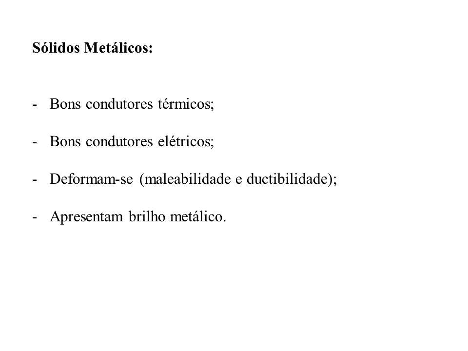 Sólidos Metálicos: -Bons condutores térmicos; -Bons condutores elétricos; -Deformam-se (maleabilidade e ductibilidade); -Apresentam brilho metálico.