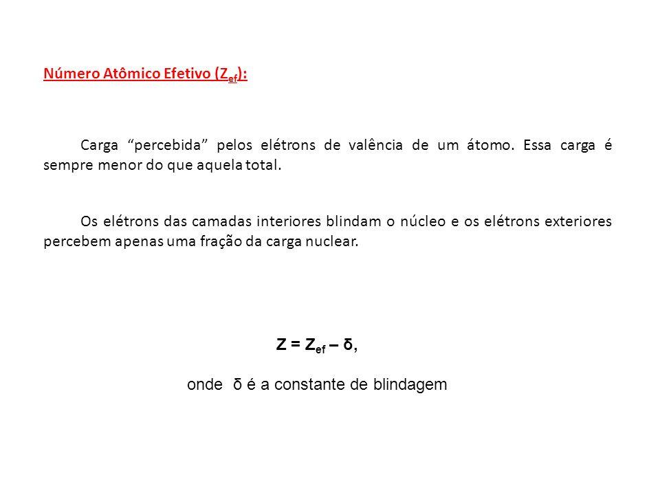 Número Atômico Efetivo (Z ef ): Carga percebida pelos elétrons de valência de um átomo. Essa carga é sempre menor do que aquela total. Os elétrons das