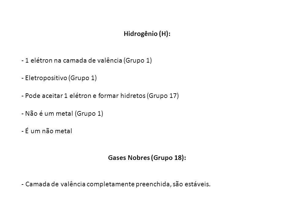 Hidrogênio (H): - 1 elétron na camada de valência (Grupo 1) - Eletropositivo (Grupo 1) - Pode aceitar 1 elétron e formar hidretos (Grupo 17) - Não é u